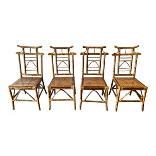 Pagoda-Top Chinoiserie Bamboo and Cane Chairs - Set of 4 For Sale