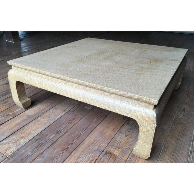 Baker Furniture Company 20th Century Regency Baker Raffia Wrapped Ming-Leg Coffee Table For Sale - Image 4 of 6