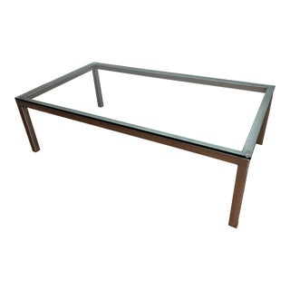 1970's Vintage Metal and Glass Coffee Table