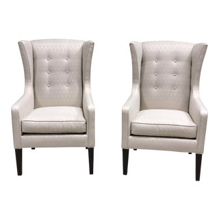 Angelica Caracole Modern Wingback Chairs- A Pair For Sale