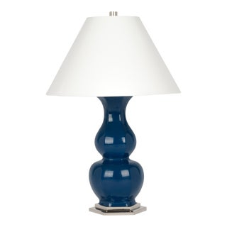Christopher Spitzmiller Collection Sebastian Lamp in Midnight Blue / Polished Nickel For Sale