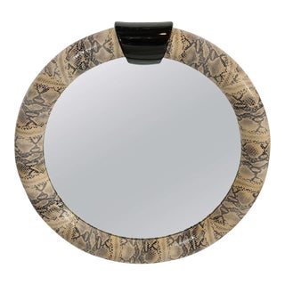 Mid-Century Modern Round Mirror Wrapped in Embossed Leather For Sale