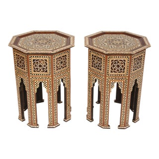 Pair of Levantine Mother of Pearl Inlaid Occasional Tables For Sale