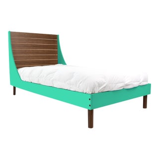 Minimo Twin Panel Bed in Walnut With Mint Finish For Sale