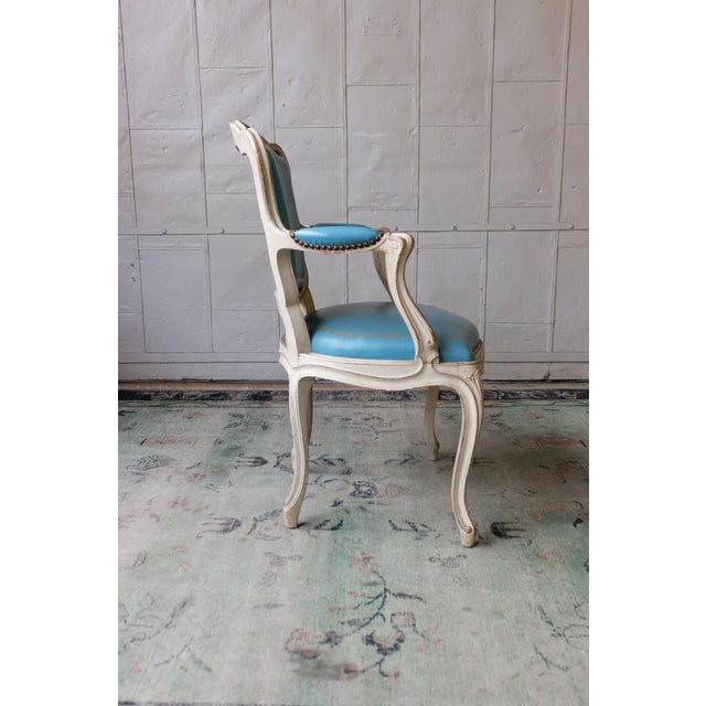 1960s Louis XV Style Blue Leather Armchairs - Set of 4 For Sale In New York - Image 6 of 12