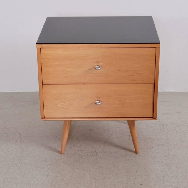 Belgian Paul McCobb Two-Drawer on Bench with Black Vitrolite Top For Sale - Image 3 of 5