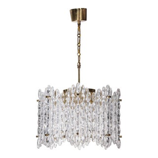 Orrefors Crystal Eight-Panel Chandelier by Carl Fagerlund For Sale