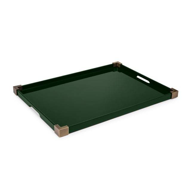 The Lacquer Company Corners Tray Brass in Bottle Green / Brass - Rita Konig for The Lacquer Company For Sale - Image 4 of 4