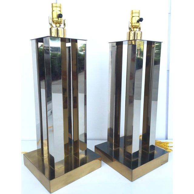 Mid-Century Steel & Brass Column Lamps - A Pair - Image 2 of 9