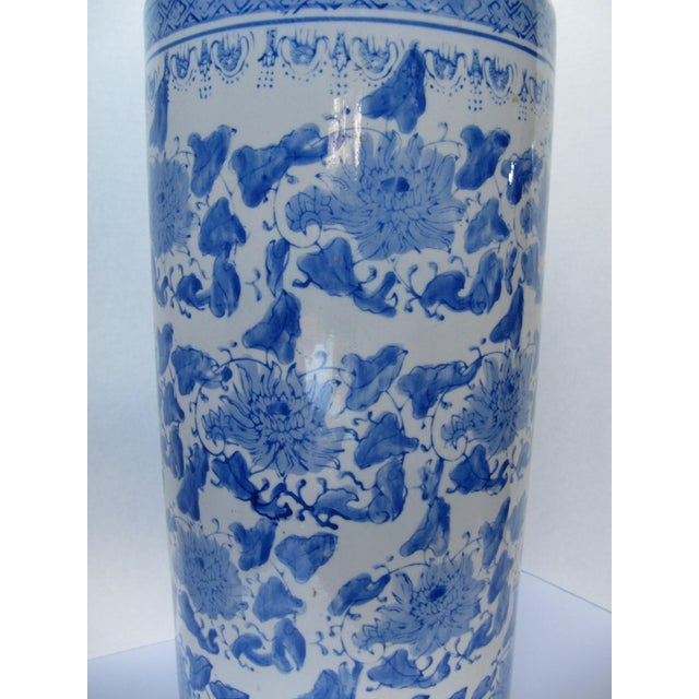 Vintage Blue & White Chinoiserie Umbrella Stand For Sale - Image 4 of 5