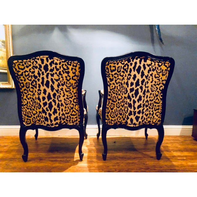 Gold Black Lacquered Jamil Velvet Leopard Armchairs - a Pair For Sale - Image 8 of 13