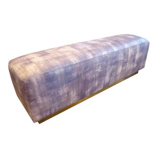 Upholstered Ottoman/Bench With Brass Base in the Style of Steve Chase C. 1980s For Sale