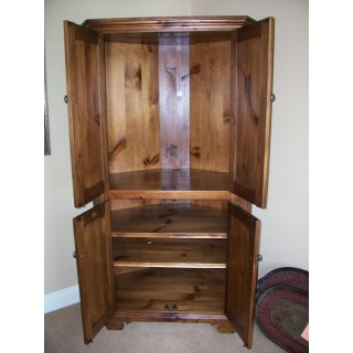 Rustic Eddy West Wooden Corner Entertainment Cabinet Preview