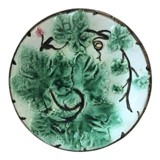 French Majolica Leaves Plate, Circa 1880 For Sale