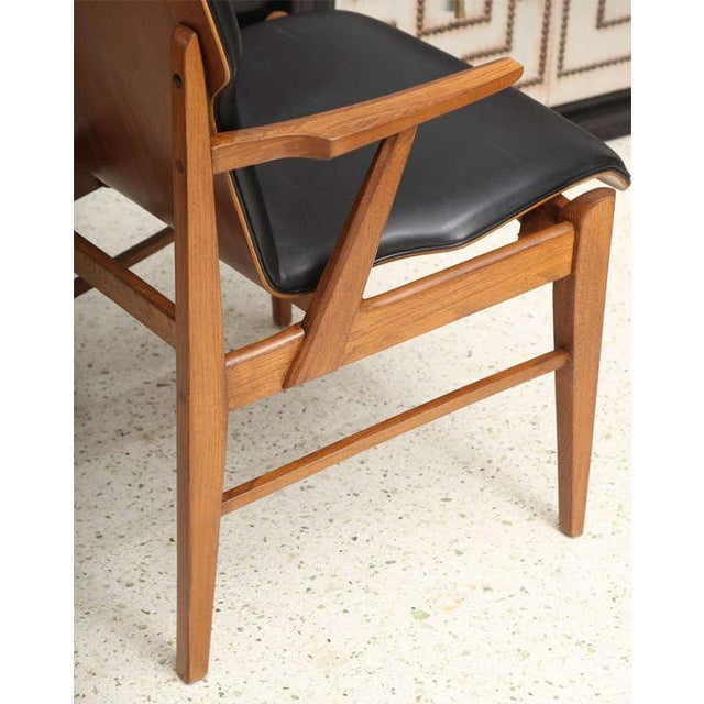 Black Pair of Danish Modern and Teak Armchairs For Sale - Image 8 of 11