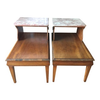 1950s Mid-Century Modern Marble Top End Table- a Pair For Sale