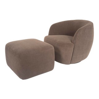 Rene Cazares Idole Swivel Chair & Ottoman For Sale