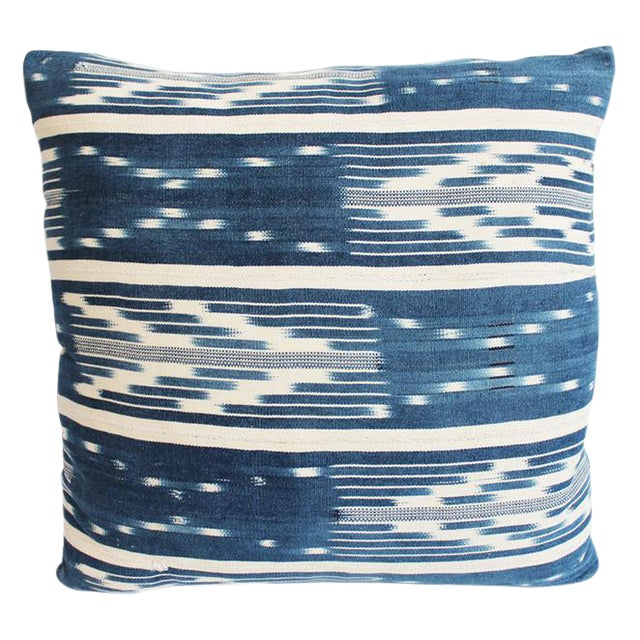 Tribal Denim Ikat Pillow For Sale
