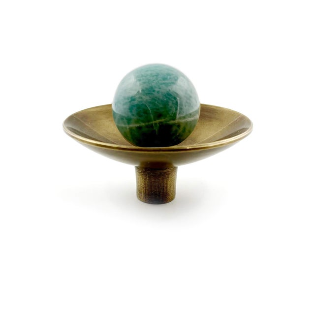 Art Deco Addison Weeks Gibson Knob, Antique Brass & Amazonite For Sale - Image 3 of 4