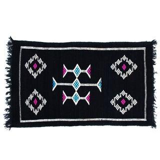 Moroccan Black Geometric Rug - 1′8″ × 2′10″ For Sale