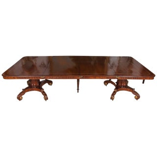 Regency Mahogany and Brass Inlaid Parcel Gilt Dining Table For Sale