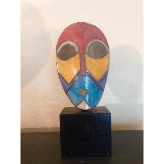 African Enamel Mask On Stand - Image 2 of 3