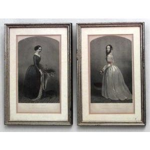 American Victorian prints of 19th Century ladies of fashion in green painted and silver gilt frames- Set of 6 For Sale - Image 4 of 4