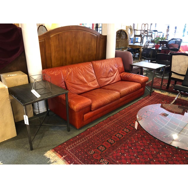 Roche Bobois Vintage Red Leather Sofa For Sale - Image 9 of 10
