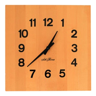 Seth Thomas Butcher Block Wall Clock For Sale