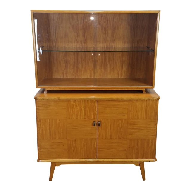 Axel Larsson for Bodafors Mid Century Birch & Mahogany 2 Part China Cabinet For Sale