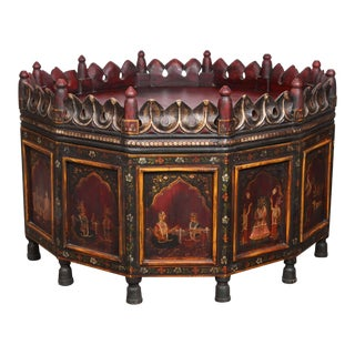 20th Century Anglo Indian Hand-Painted Teak Coffee Table For Sale