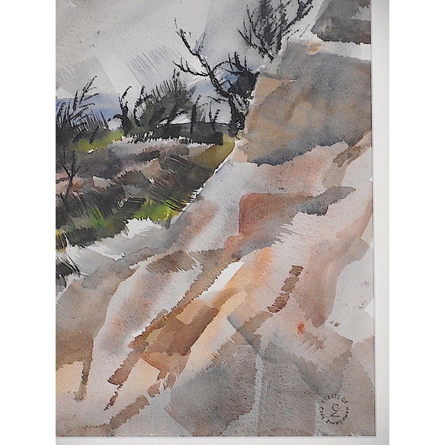 Original Vintage Mid 20th C. Modern Watercolor-Carl Zimmerman-Coastal View For Sale - Image 4 of 9