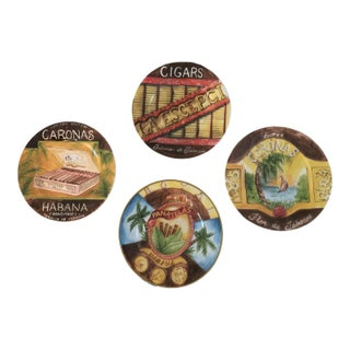 Plates - Vintage Porcelain Cigar Themed Canapé Plates - Set of 5 For Sale