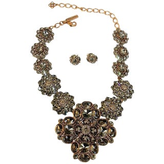 Oscar De La Renta Black Diamond Crystal Statement Necklace For Sale