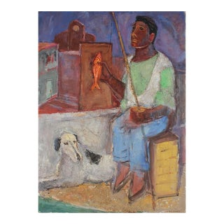 """Zeno the Fisher"", Seaside Portrait in Oil Paint, Circa 1950s For Sale"