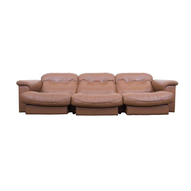 Adjustable Cognac DS 101 Sofa by De Sede Adjustable and very comfortable sofa by De Sede, Swiss, 1960s The chairs are...