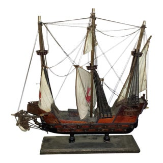 Antique Wooden European Ship Galleon For Sale