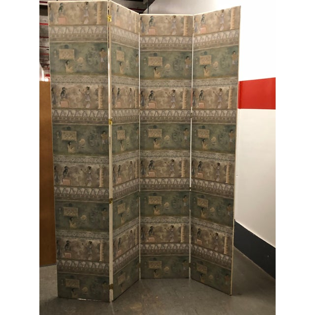 Maitland-Smith Postmodern Egyptian Revival Silk Screens - a Pair - Image 4 of 6