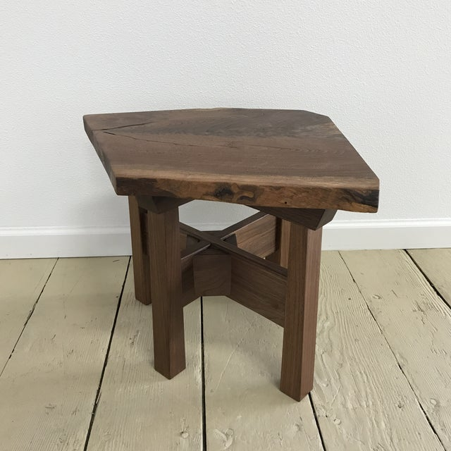 Solid California Walnut Stool For Sale - Image 11 of 11