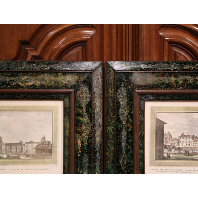 Pair of 19th Century Italian Florence Engravings in Ornate Églomisé Frames For Sale - Image 10 of 13