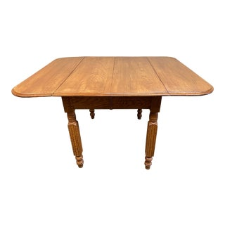 Mid 20th Century Drop Leaf Oak Dining Table For Sale