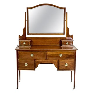 Antique English Vanity Veneered with Mahogany, circa 1890 For Sale