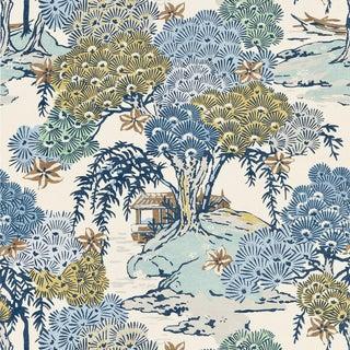 Scalamandre Sea of Trees Fabric, Blue Ridge Sample For Sale