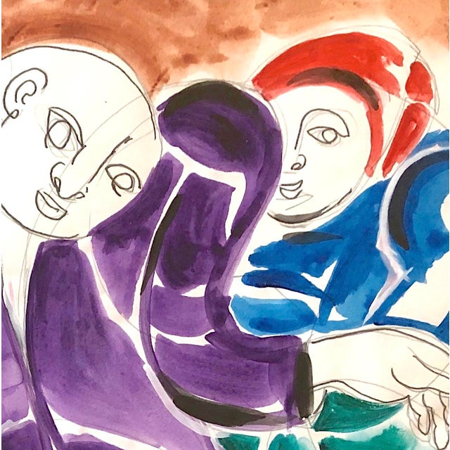 Mid-Century Modern Three Figures Painting For Sale In New York - Image 6 of 12