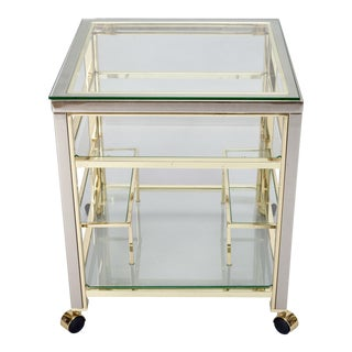 Mid-Century Modern Brass and Glass Trolley Table Gold Bar Cart For Sale