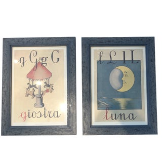 Childs Alphabet Prints Professionally Framed - a Pair For Sale
