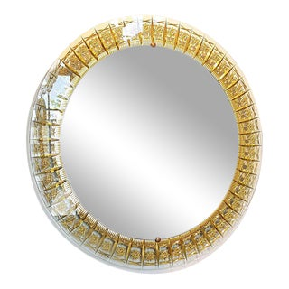 Vintage Cristal Arte All Glass Mirror with Gold Inclusions For Sale