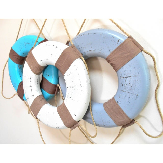 Vintage Life Rings & Weathered Nautical Wall Decor - Image 5 of 9