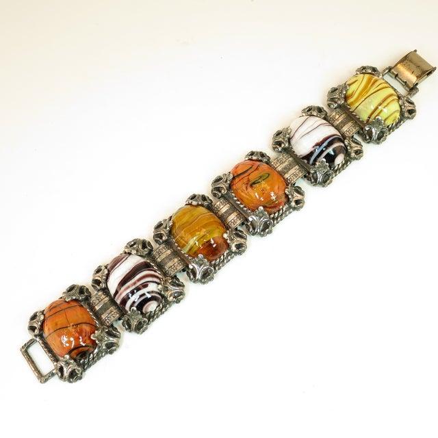 Mid-Century Selro Agate Art Glass Florentine Link Bracelet, 1950s For Sale - Image 13 of 13