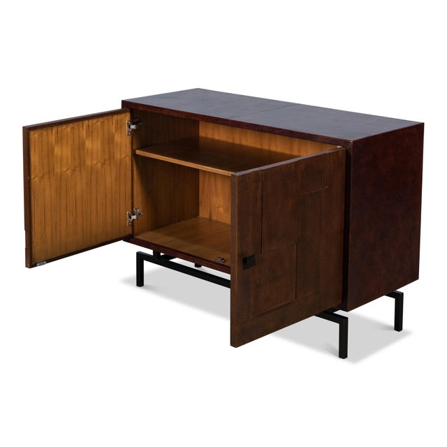 Iron (Black Matte), Leather (Brown) - One Removable Shelf